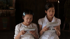 Reading School in the Karen State of Burma Stock Footage