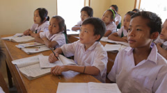 Students at their Desk in the Karen State of Burma Stock Footage