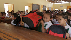 Children at their Desk at a Remote School in Burma Stock Footage