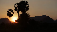 Sunset in the Karen State of Burma Stock Footage