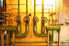 regulating station with pressure relief valves. - stock photo