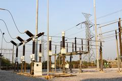 Equipment of high-voltage electric substation Stock Photos