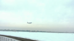Plane landing at Toronto Pearson airport in winter Stock Footage