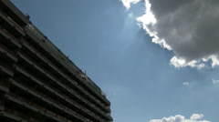 4K Block Building Clouds Sky and Godrays  Stock Footage