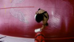 19of20 Asian man training kick boxing in gym as fighter Stock Footage