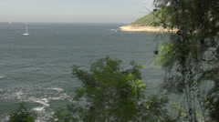 Rio De Janeiro rocky shorline vista Stock Footage