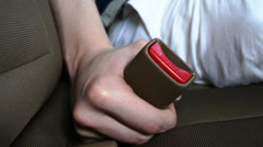 Fastening A Seat belt Close Up Stock Footage