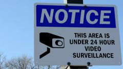 Surveillance Camera Sign Stock Footage
