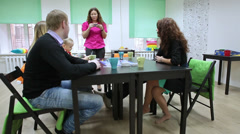 People emotions when guessing the word at guessing game. Co-working center Stock Footage
