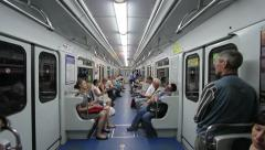 Trip in subway car Stock Footage
