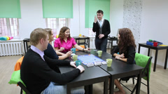Large cheerful company of young people playing games in studio Stock Footage