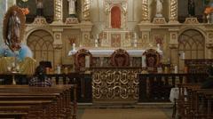 Interior of Iglesia Santo Domingo, Latacunga, Ecuador Stock Footage
