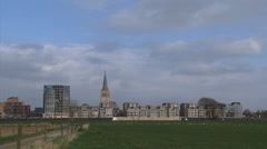 DOESBURG pan Skyline hanseatic town church, monumental and modern houses Stock Footage