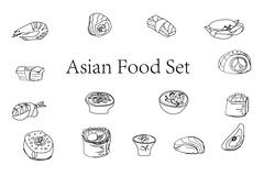 Traditional japanese food icons set doodle Piirros