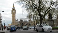 London Big Ben and taxi cars - stock footage