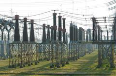Insulators on power plant Stock Photos