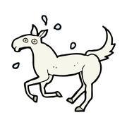 cartoon horse sweating - stock illustration