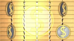 Gold bullion background with rotate dollars, loop Stock Footage
