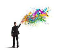 colorful and creative business - stock illustration