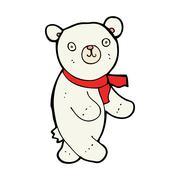 cute cartoon polar teddy bear - stock illustration
