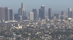 Aerial view business tower skyscraper district central financial Los Angeles LA  Stock Footage