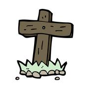 Stock Illustration of cartoon wooden cross grave