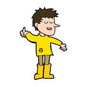cartoon poor boy with positive attitude - stock illustration