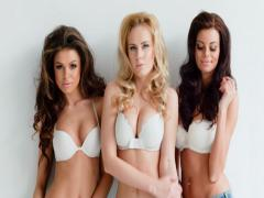 Three beautiful sexy curvaceous young women Stock Footage