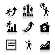 Success in business, self-development icons set Stock Illustration