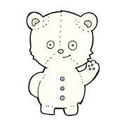 cartoon polar bear cub - stock illustration