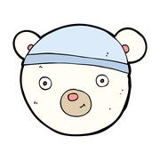 cartoon polar bear face - stock illustration