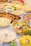 Salad and meat buffet Stock Photos