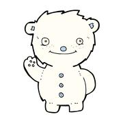 cartoon waving polar bear - stock illustration