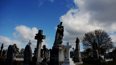 Stock Video Footage of Graveyard. Cemetery. Time-lapse. Statues