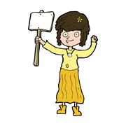 Stock Illustration of cartoon hippie girl with protest sign