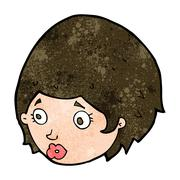 Cartoon girl with concerned expression Stock Illustration