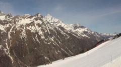 Cable Car tour and panorama at Ski Paradise Matterhorn Stock Footage