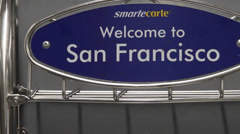 Welcome to san Francisco sign airport Stock Footage