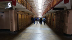 2 angles - tourists inside Alcatraz Stock Footage
