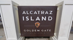 Alcatraz sign - and main building - stock footage