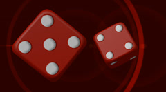Spinning casino dice on red circular lens flare background - stock footage