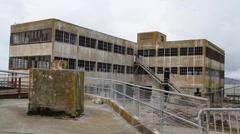 Warehouse building at Alcatraz Stock Footage