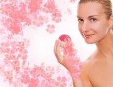 beautiful girl with aroma bath ball - stock illustration