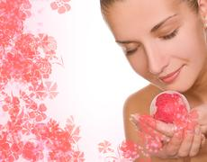 beautiful girl with a aroma bath ball - stock illustration