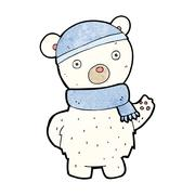cartoon polar bear in winter hat and scarf - stock illustration