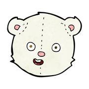 cartoon polar teddy bear head - stock illustration