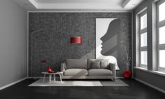black  contemporary living room - stock illustration
