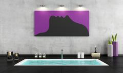 Minimalist bathroom with sunken bath Stock Illustration