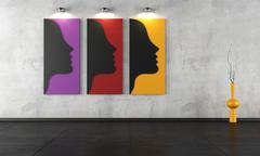 three contemporary paintings in a empty room - stock illustration