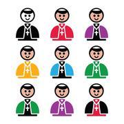 Catholic church pope vector icon set - stock illustration